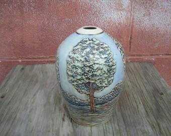 Carved Tree Vase Porcelain