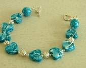 Aqua Turquoise Heart Shape Handmade Beads Beaded Bracelet OOAK Ideal Gift Summer Accessory Christmas UK