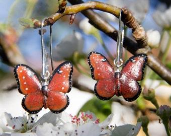 Queen Butterfly Earrings, Dangling Earrings, 925 Sterling Silver, Polymer Clay - Free Shipping