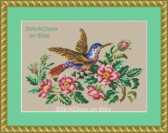 Bird and flower 1. Counted Cross Stitch Pattern PDF