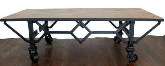 Table de basse en fer forg artisanal style industriel for Table de nuit style industriel
