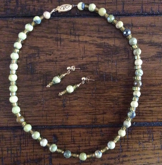 Necklace and Earrings - Jade, Czech glass and Gold Vermeil