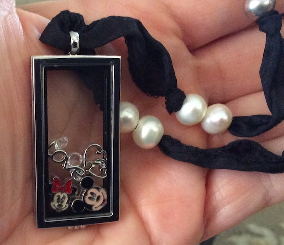 Stainless Steel Memory Locket on Silk  Ribbon Adorned with Fresh Water Pearls;