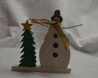 Wooden Snowman with Tree