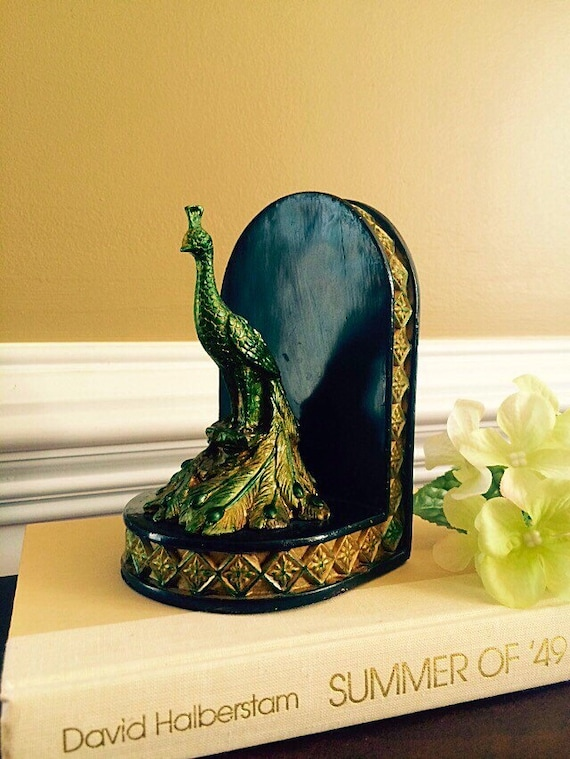 Jewel Tone Green Tinted Peacock Bookend Vintage Art Nouveau