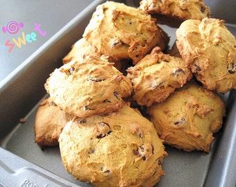 Homemade soft pumpkin chocolate walnut Cookies--Chocolate Chip Cookies with walnut---one dozen homemade cookies