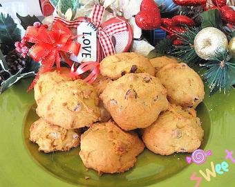 One dozen homemade soft pumpkin chocolate walnut Cookies--Chocolate Chip Cookies with walnut---homemade Christmas cookies---Halloween sale