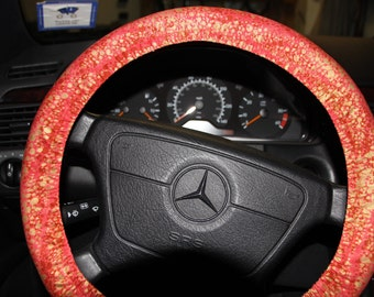 Coral and Gold  steering Wheel Cover.  Womens wheel cover.