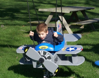 wood    usaf  /  navy   bi-plane   swing  and or  airplane stroller