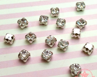 20 pcs Sew on Cut Glass Crystals 4mm in Silver Settings montees 4 holes bead ~ O4-01