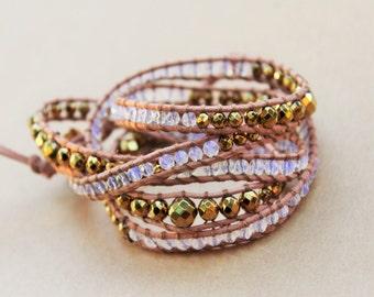 Purple Beaded wrap Bracelet, Five Wrap Leather Bracelet, Bohemian Jewelry, Boho Chic Jewelry, Boho Chic Accessories