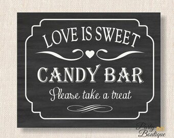 Chalkboard Love is Sweet Sign - 3 sizes - Dessert Bar - Candy Bar Sign - Wedding Decoration - INSTANT DOWNLOAD - Heart Collection