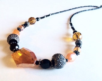 Orange and black necklace, crystal bead necklace, beaded necklace, gunmetal, grey, glass bead, unique jewelry, handmade jewelry
