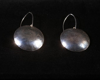 Handmade hammered sterling silver dome earrings.