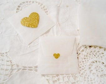 Small Gold Glitter Hearts Glassine Envelopes  - Envelopes and Seals. Gold Sweet Hearts x 10