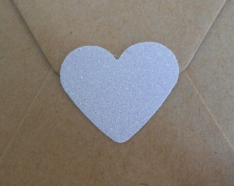 Large Sparkly Pearl White Glitter Heart Envelope Seals For Wedding And Events - Sweet Love stickers x 25