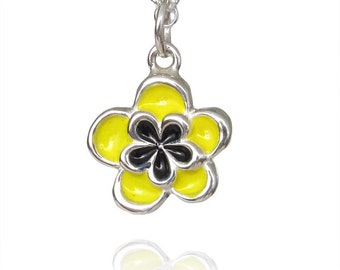Small Yellow Flower Necklace, sterling silver flower pendant in yellow and black