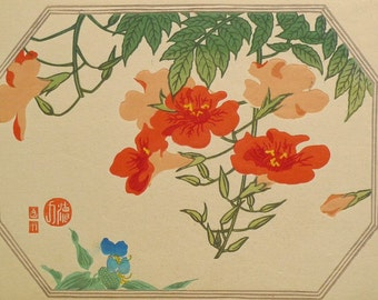 "Ukiyoe, Original Sōsaku-hanga, Woodblock print, antique, Tomikichiro Tokuriki, ""Trumpet creeper"""