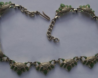 Vintage Art Deco Style Green & Gold Articulated Link Necklace