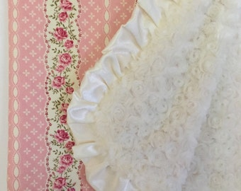 Shabby Chic Baby Blanket, Dusty Pink with Ivory Minky Swirl