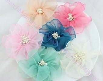 5pcs Ribbon Organza  flower with beaded Wedding Flower chiffon puff flower with white stamen 5 inch,pink,beige,ivory,blue,red FZ0093