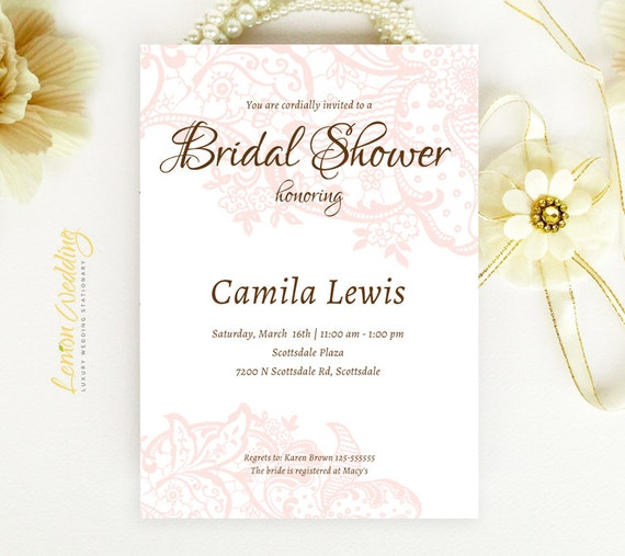 personalized bridal shower invitations cheap elegant wedding shower