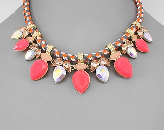 CLEARANCE - Pink & Peach Jewel Statement Necklace