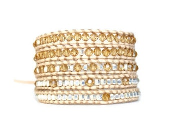 Beige Leather Wrap Bracelet