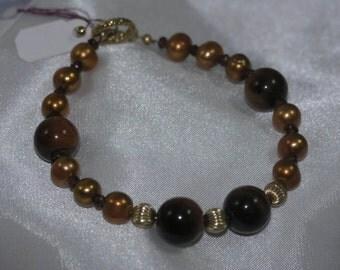 Red Tiger Eye, Garnet, Freshwater Pearl Bracelet