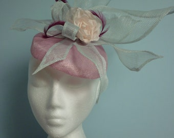 Wedding perched hat with sinamay leaves and handmade silk rose in pink and ice
