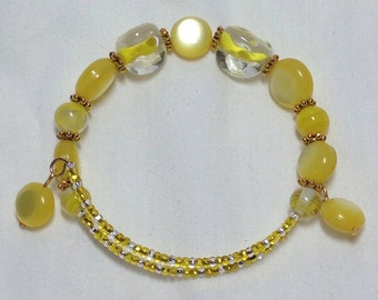 Yellow and Gold Bead Wrap Bracelet