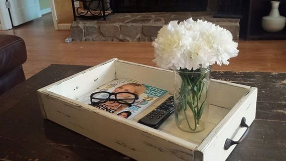 Coffee Table Tray Catch All Box Distressed By RecycledTrees