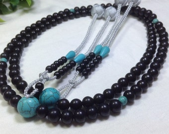 Juzu prayer malas,high quality  African ebony wood,with Turquoise Budddha Bead&silver grey accessory balls