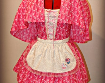 Pink Marshmallow Peeps Cutie Easter Dress Pinafore with Apron