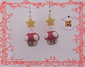 Fungus 1 up in fimo earrings