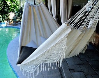 Natural Taste - Fine Cotton King Size Hammock with Croche Fringe, Made in Brazil
