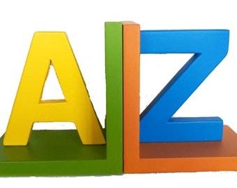 Bookend A-Z, Kids Classroom Decor, Kindergarten Bookends, Gender Neutral, Baby Room Decor, Bookshelf Nursery Decor, Bookshelf Decor