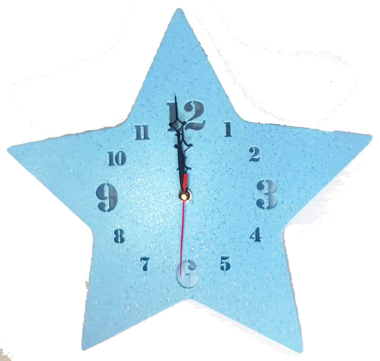 star shaped blue wall clock kids wooden decor nursery bedroom