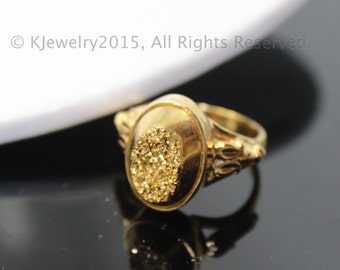 Gold Drusy Ring, Sterling Silver Ring , Gemstone Ring