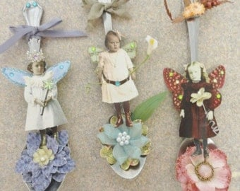 Pixie Fairy Spoon Set 5 ~Altered Spoon ~ Art Wall Decor~~ 3 Styles