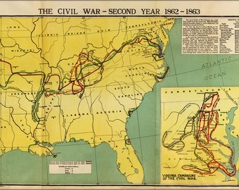 24x36 Poster; Map Of Civil War Second Year