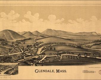 24x36 Poster; Map Of Glendale, Massachusetts 1890