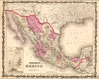 24x36 Poster; Map Of Mexico 1862