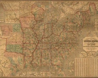 24x36 Poster; Map Of United States Railroad & Stage Coach 1847