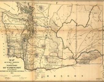 24x36 Poster; Map Of Washington State 1866