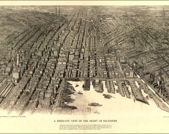 24x36 Poster; Birdseye View Map Of The Heart Of Baltimore 1912