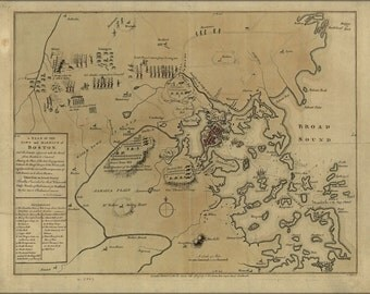 24x36 Poster; Map Of 1775 Battle Of Lexington, Concord & Siege Of Boston
