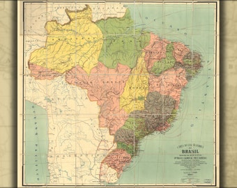24x36 Poster; Map Of Brazil 1912