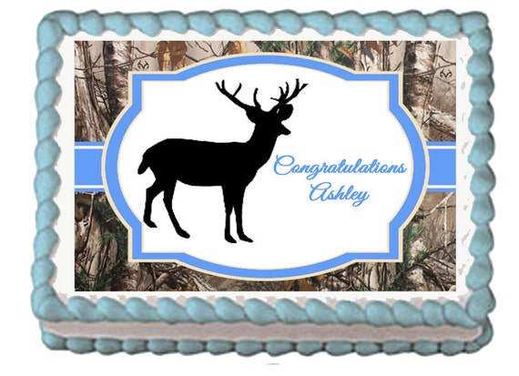 Deer Hunting Camo Edible Baby Shower 1st by EBDesignAndPrint