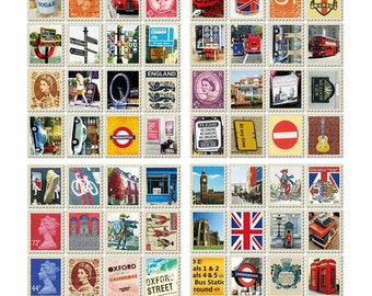 London Stamp Sticker Set (4 sheets of 20 stickers)